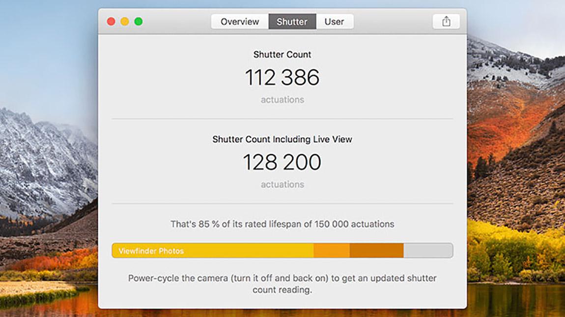 تطبيق EOS Inspector 2 لمعرفة عدد الصور الملتقطة بكاميرات كانون
