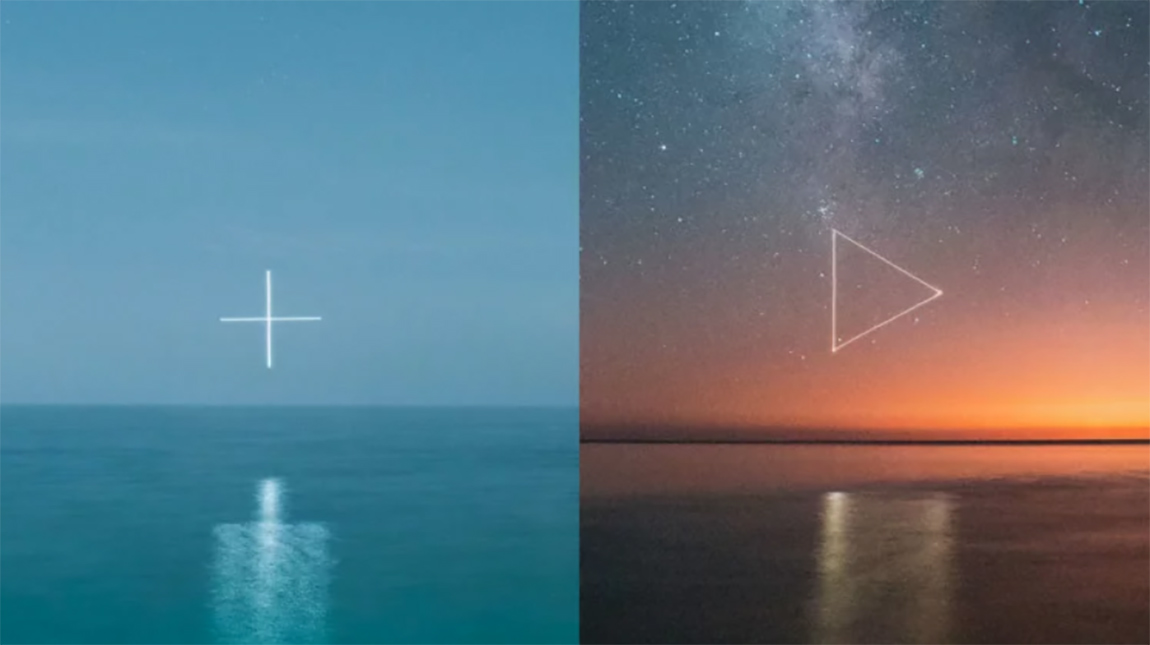 مصور يستخدم طائرة بدون طيار لرسم اشكال مضيئة في السماء