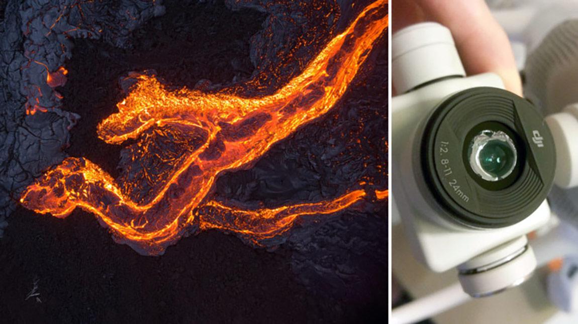 طائرة درون تذوب بسبب حرارة بعد تصوير الحمم البركانية